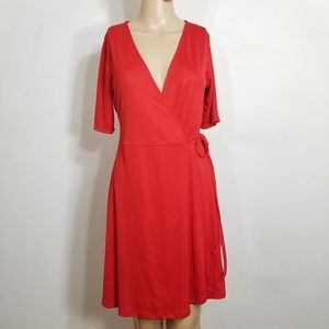 Zara Trafaluc Red Wrap Dress Medium
